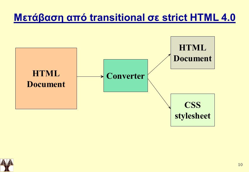 Μετάβαση από transitional σε strict HTML 4.0