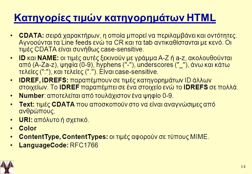 Κατηγορίες τιμών κατηγορημάτων HTML