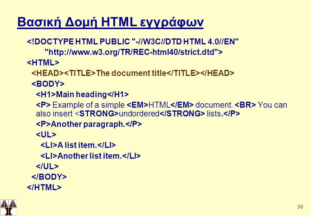 Βασική Δομή HTML εγγράφων