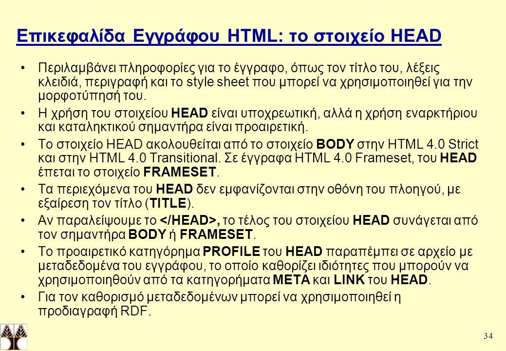 Επικεφαλίδα Εγγράφου HTML: το στοιχείο HEAD