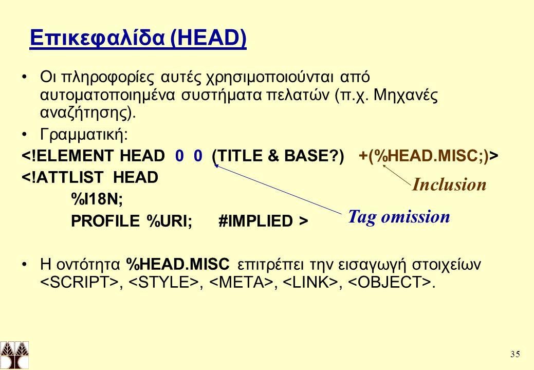 Επικεφαλίδα (HEAD) Inclusion Tag omission