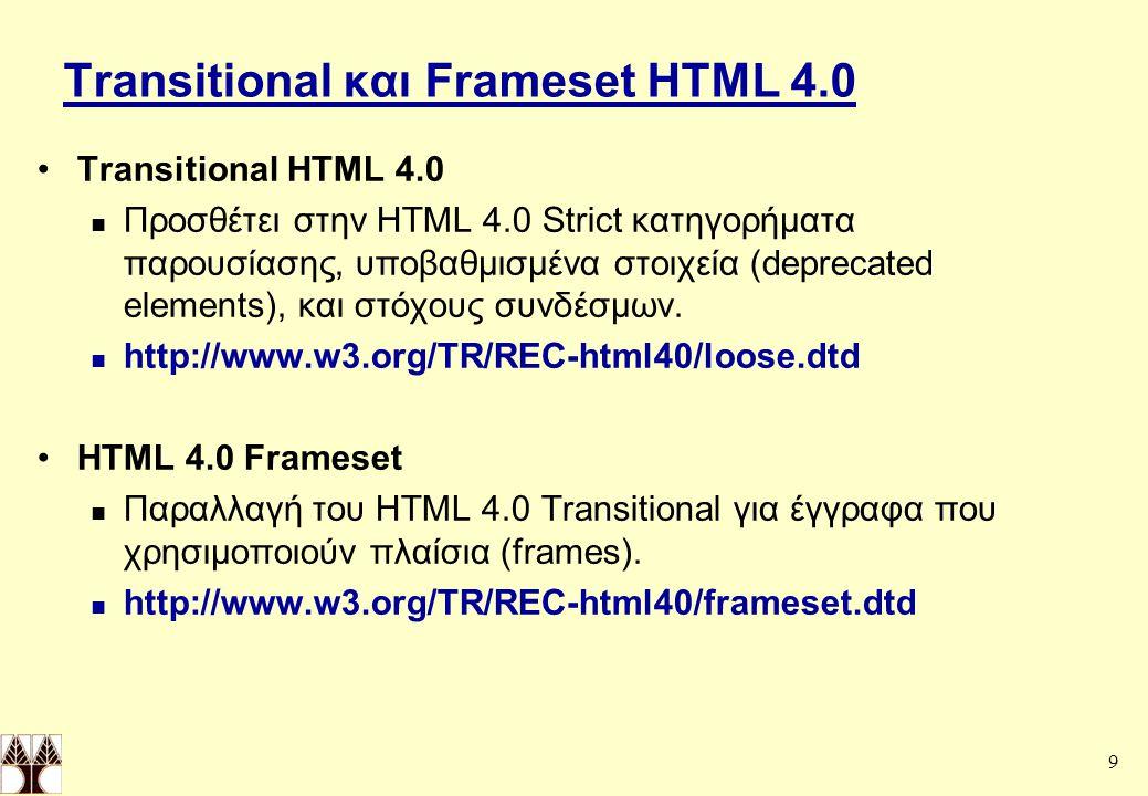 Transitional και Frameset HTML 4.0