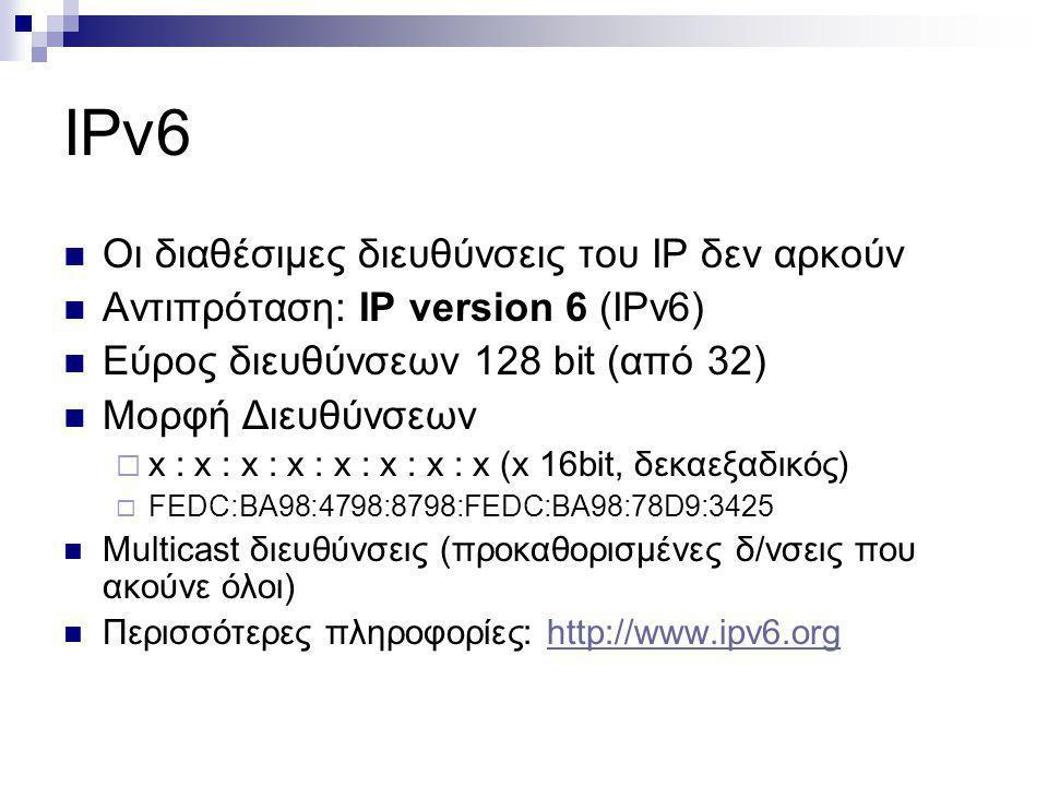 IPv6 Οι διαθέσιμες διευθύνσεις του IP δεν αρκούν