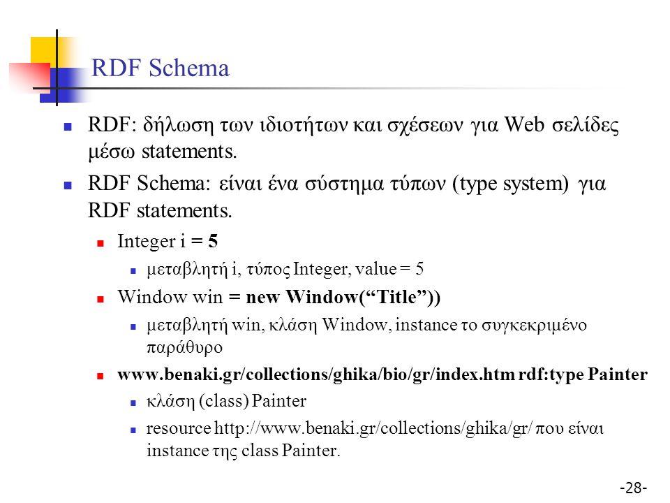 RDF Schema RDF: δήλωση των ιδιοτήτων και σχέσεων για Web σελίδες μέσω statements.