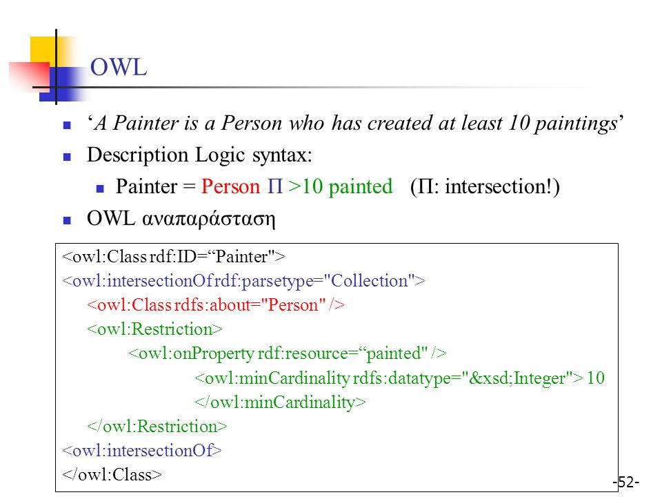 OWL 'A Painter is a Person who has created at least 10 paintings'