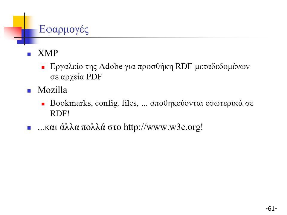 Εφαρμογές XMP Mozilla ...και άλλα πολλά στο http://www.w3c.org!