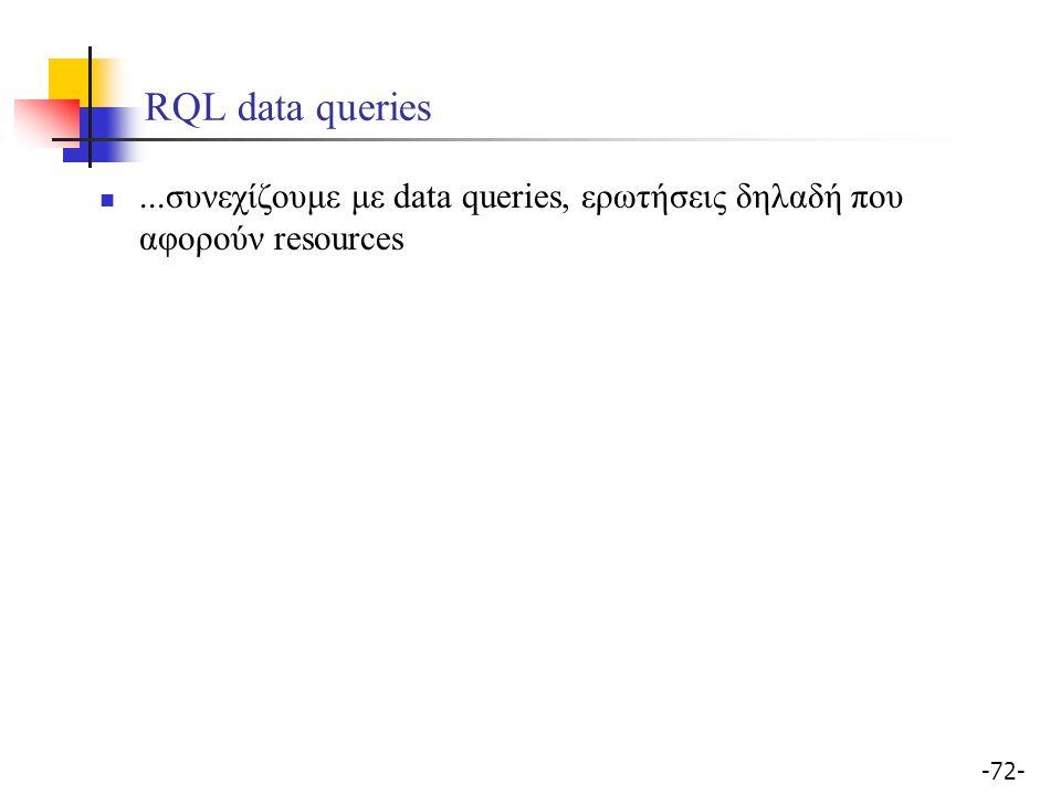 RQL data queries ...συνεχίζουμε με data queries, ερωτήσεις δηλαδή που αφορούν resources