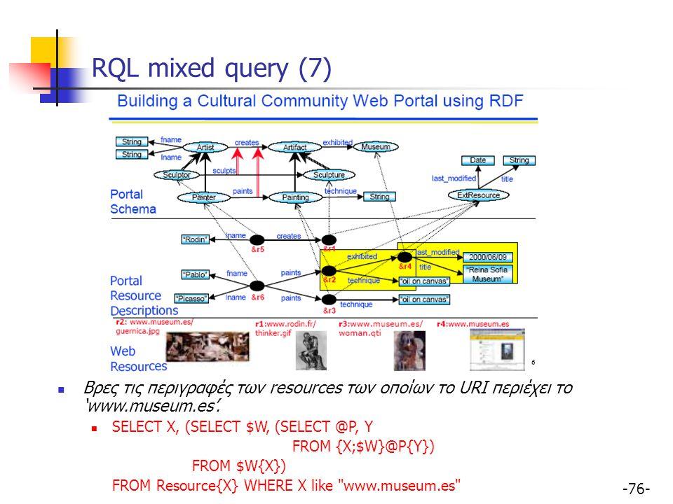 RQL mixed query (7) Βρες τις περιγραφές των resources των οποίων το URI περιέχει το 'www.museum.es'.
