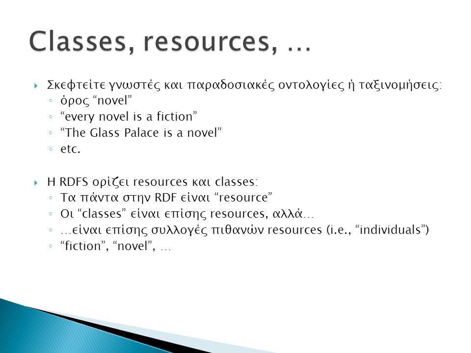 Classes, resources, … Σκεφτείτε γνωστές και παραδοσιακές οντολογίες ή ταξινομήσεις: όρος novel every novel is a fiction
