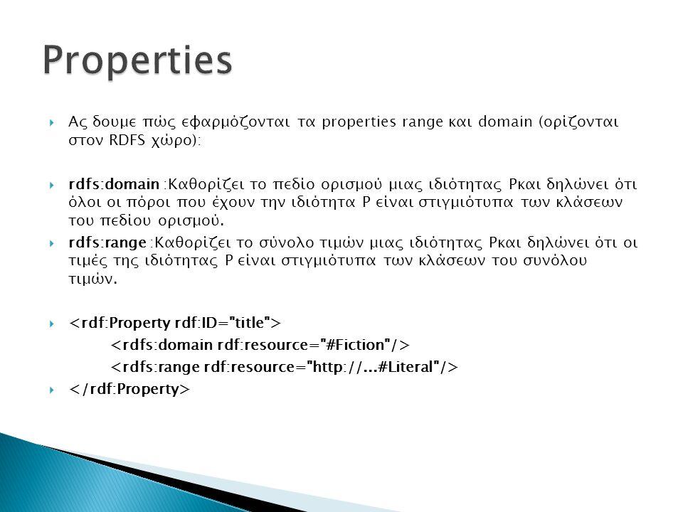 Properties Ας δουμε πώς εφαρμόζονται τα properties range και domain (ορίζονται στον RDFS χώρο):