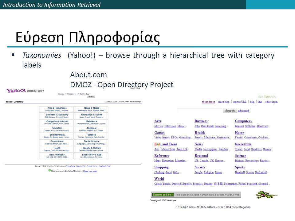 Εύρεση Πληροφορίας Taxonomies (Yahoo!) – browse through a hierarchical tree with category labels. About.com.