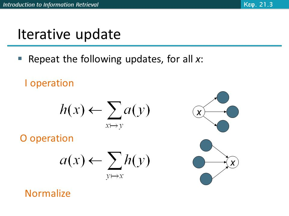 Iterative update Repeat the following updates, for all x: I operation
