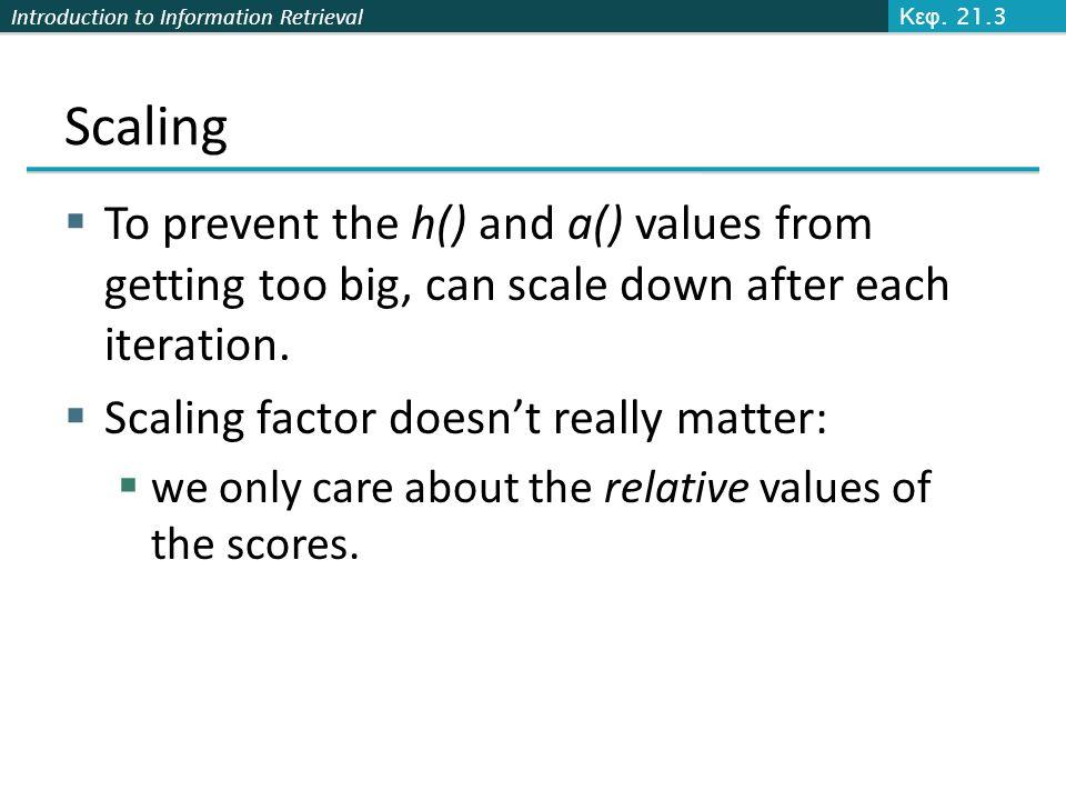 Κεφ. 21.3 Scaling. To prevent the h() and a() values from getting too big, can scale down after each iteration.