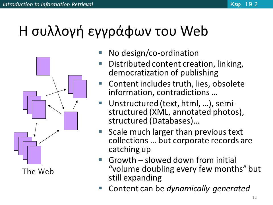 Η συλλογή εγγράφων του Web