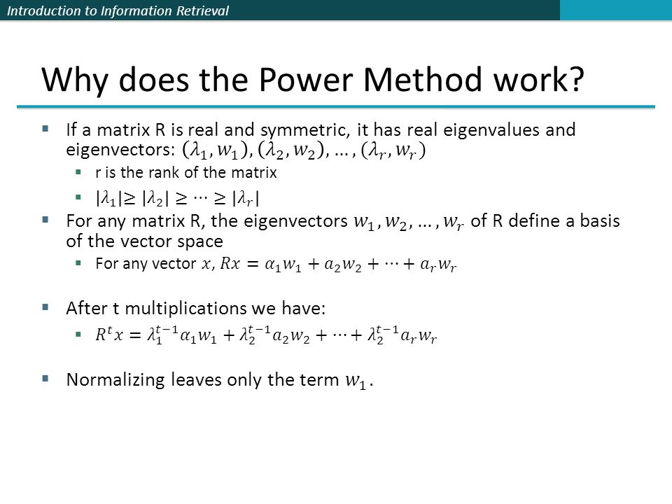 Why does the Power Method work