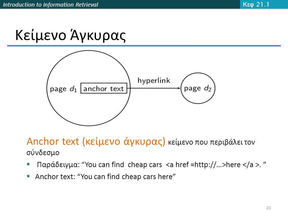 Κεφ 21.1 Κείμενο Άγκυρας. Anchor text (κείμενο άγκυρας) κείμενο που περιβάλει τον σύνδεσμο.