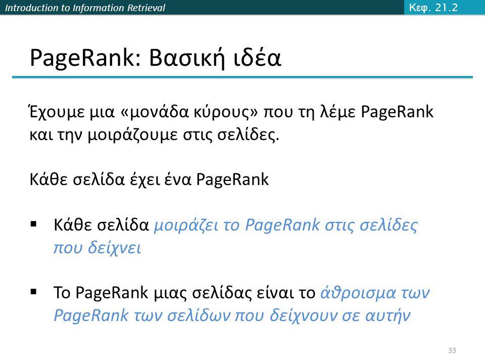 Κεφ. 21.2 PageRank: Βασική ιδέα. Έχουμε μια «μονάδα κύρους» που τη λέμε PageRank και την μοιράζουμε στις σελίδες.