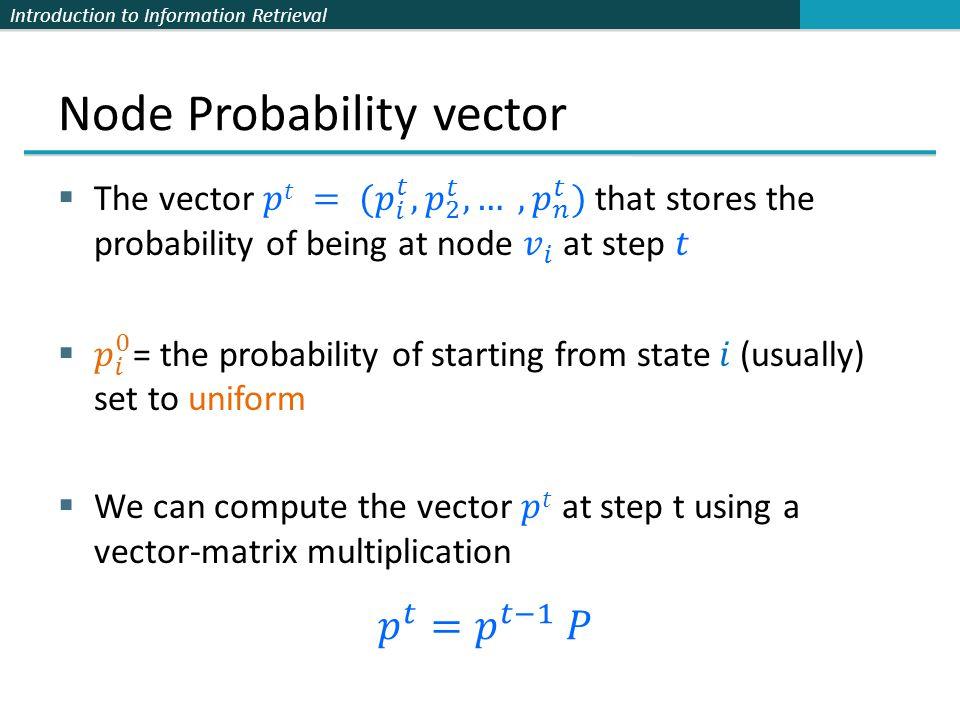 Node Probability vector