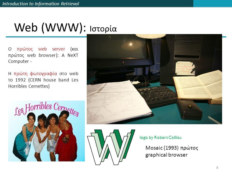 Web (WWW): Ιστορία Mosaic (1993) πρώτος graphical browser