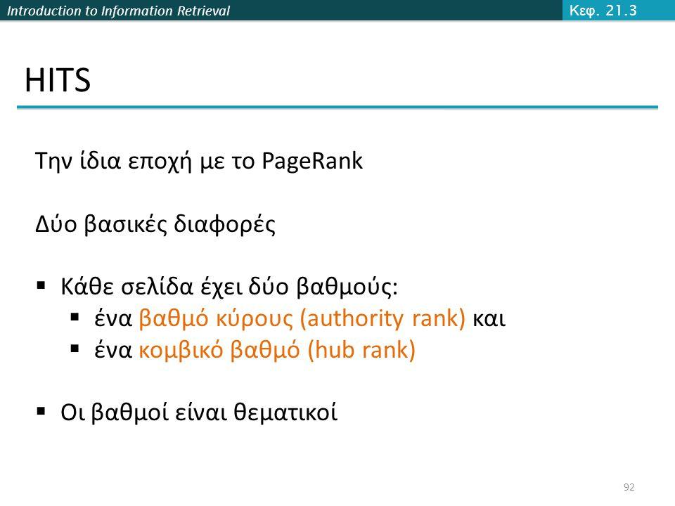 HITS Την ίδια εποχή με το PageRank Δύο βασικές διαφορές