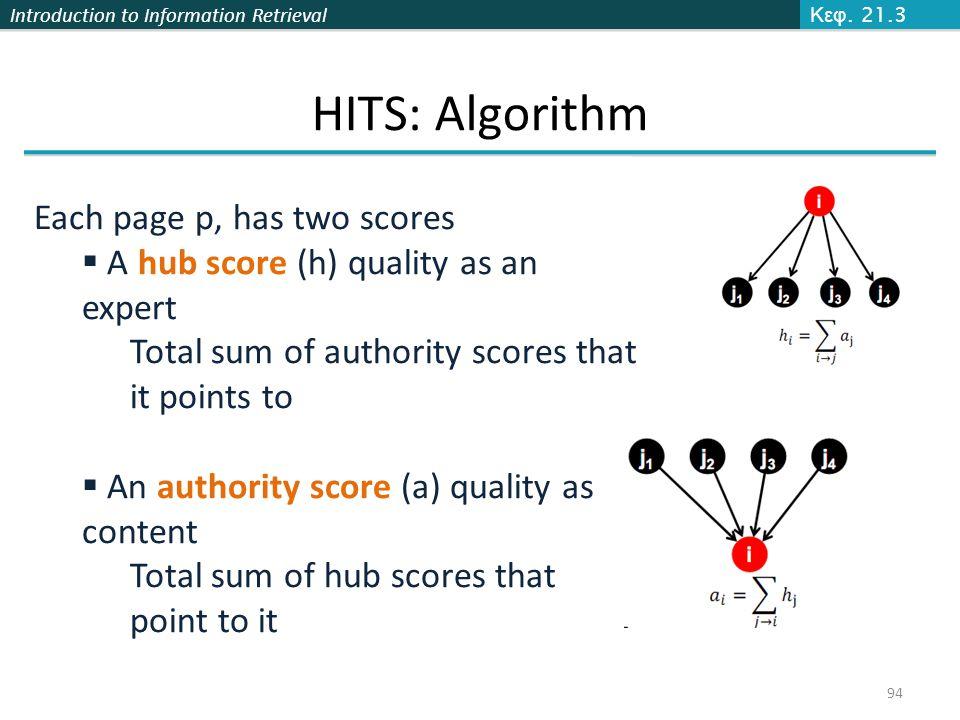 HITS: Algorithm Each page p, has two scores