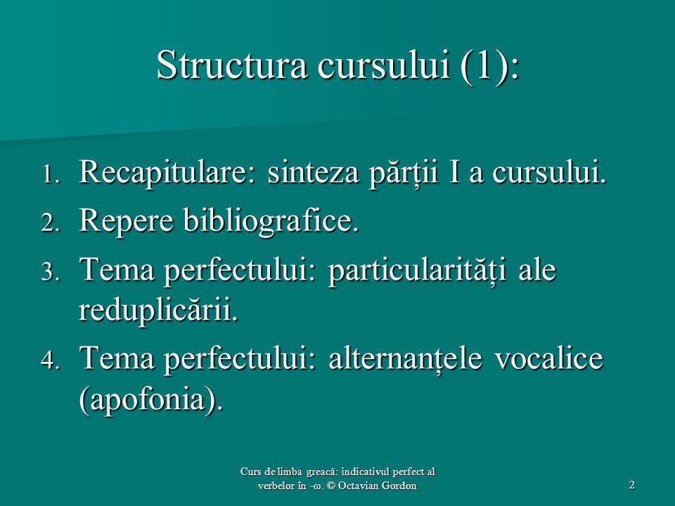 Structura cursului (1):