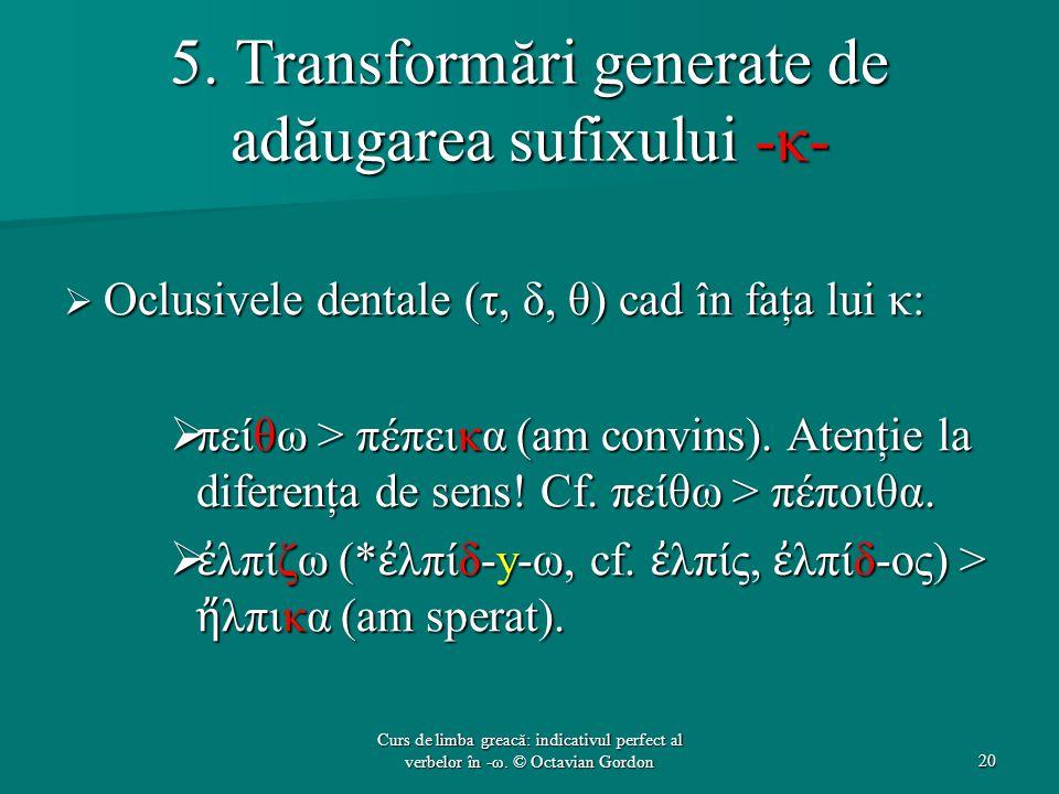 5. Transformări generate de adăugarea sufixului -κ-