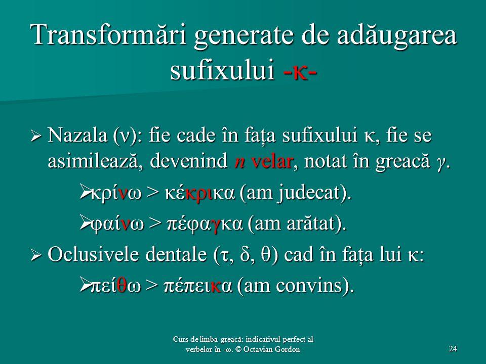 Transformări generate de adăugarea sufixului -κ-