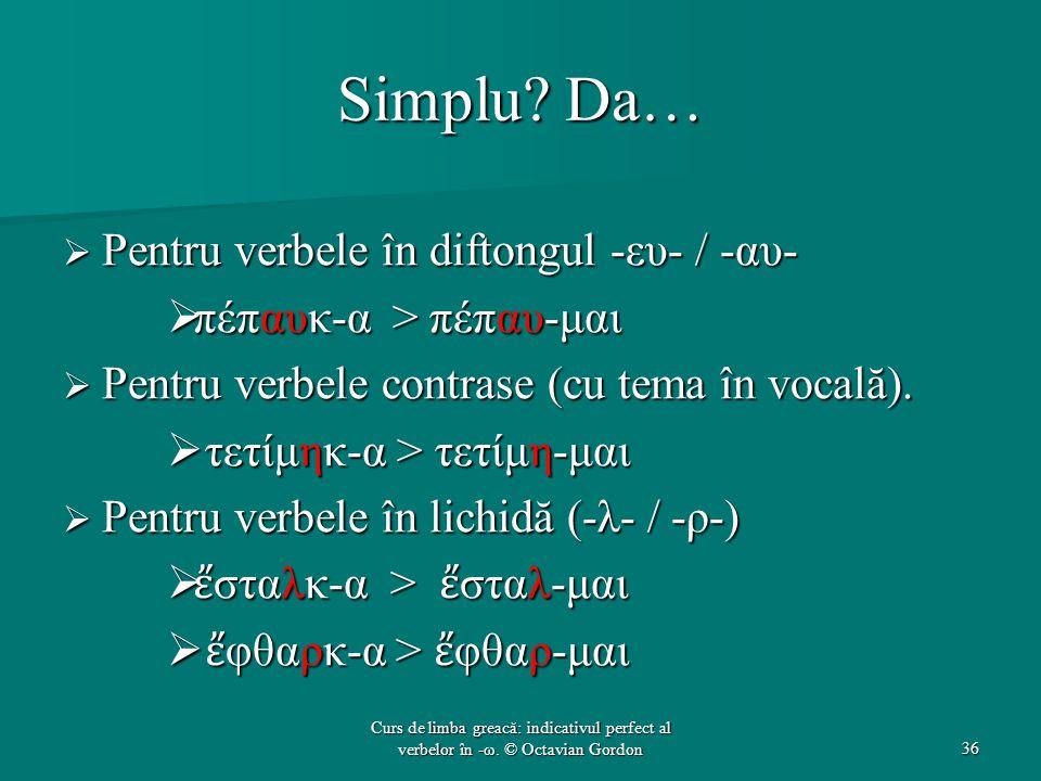 Simplu Da… Pentru verbele în diftongul -ευ- / -αυ-