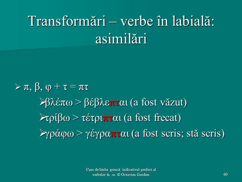 Transformări – verbe în labială: asimilări