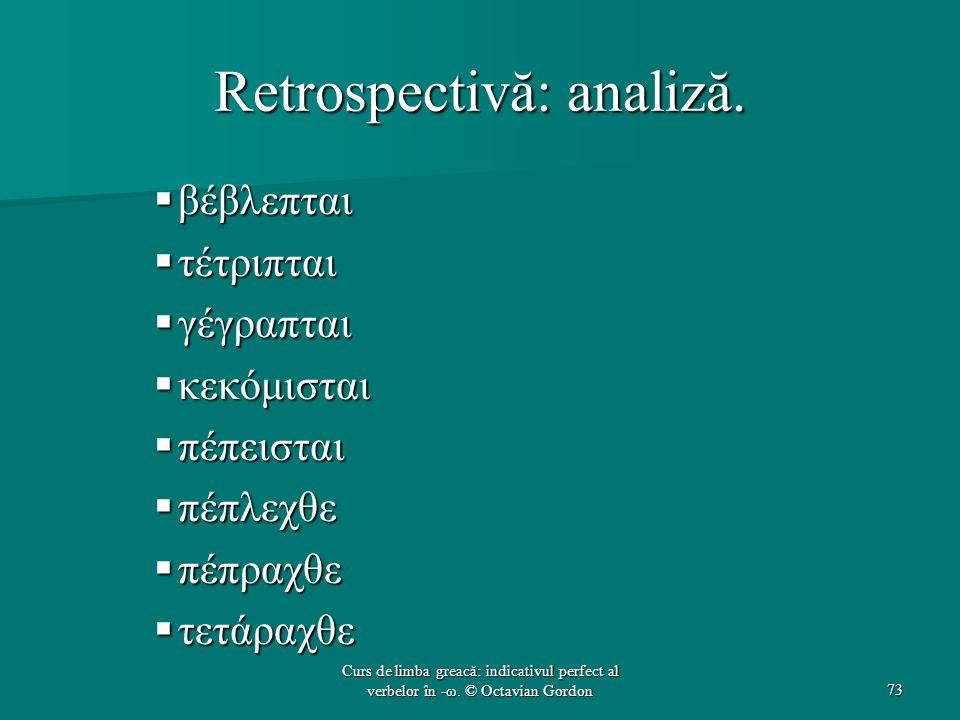 Retrospectivă: analiză.