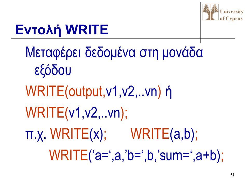 Μεταφέρει δεδομένα στη μονάδα εξόδου WRITE(output,v1,v2,..vn) ή