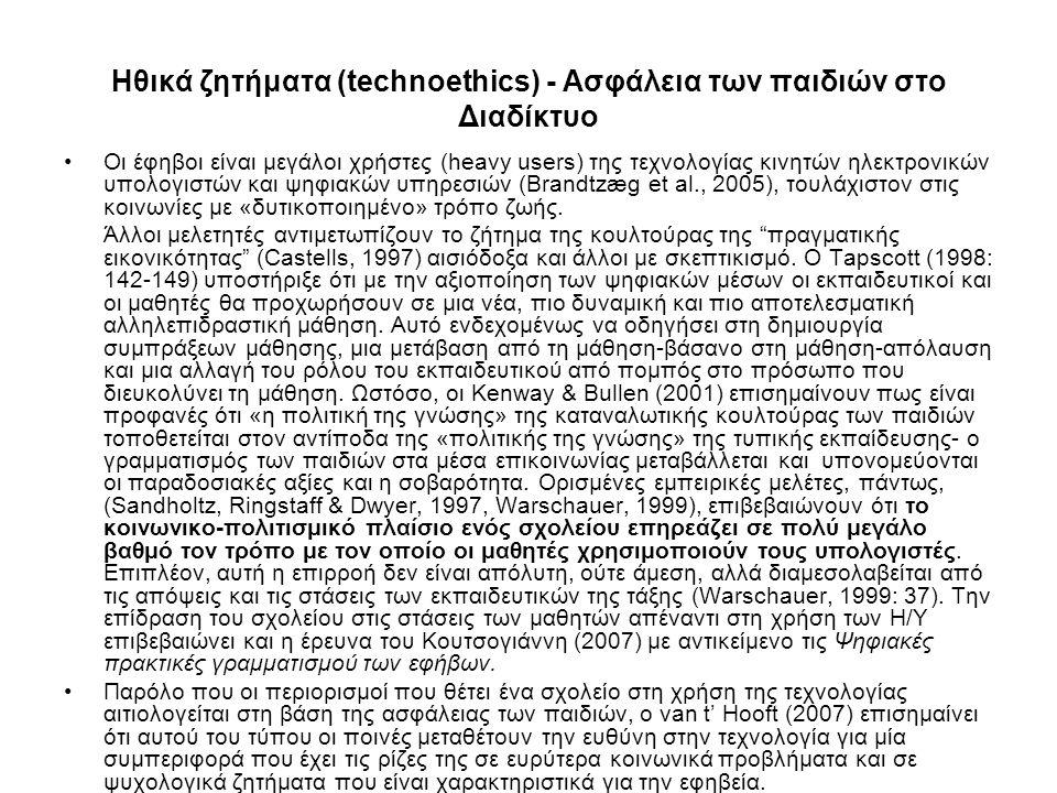 Ηθικά ζητήματα (technoethics) - Ασφάλεια των παιδιών στο Διαδίκτυο