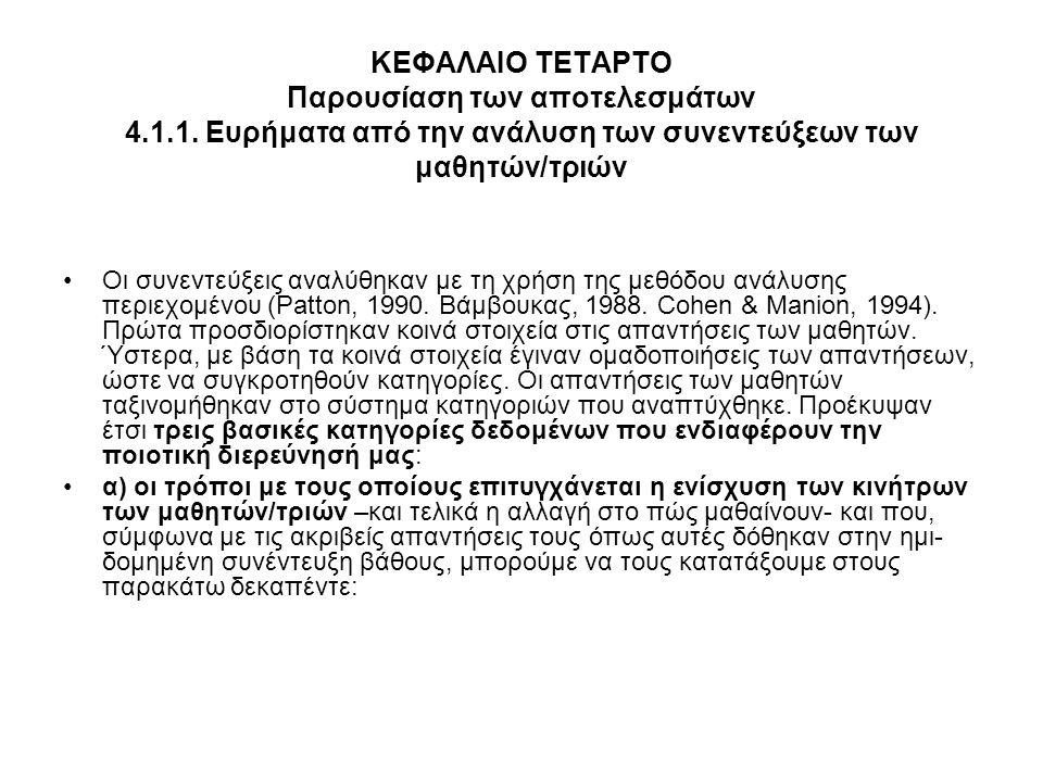 ΚΕΦΑΛΑΙΟ ΤΕΤΑΡΤΟ Παρουσίαση των αποτελεσμάτων 4. 1. 1