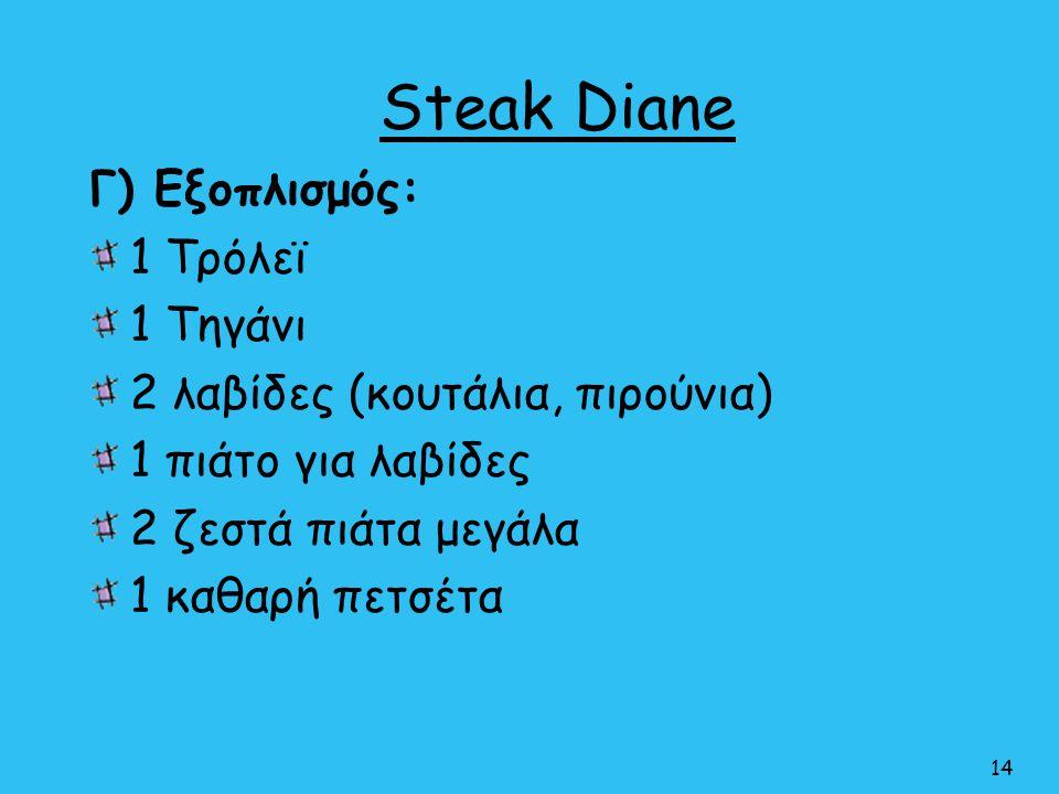 Steak Diane Γ) Εξοπλισμός: 1 Τρόλεϊ 1 Τηγάνι