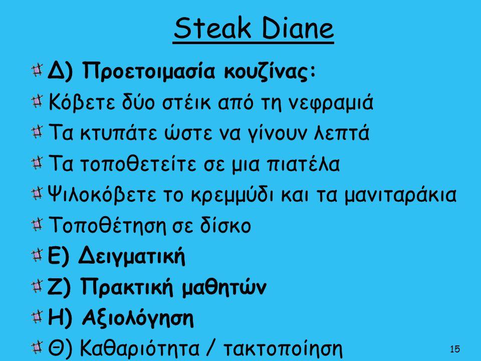 Steak Diane Δ) Προετοιμασία κουζίνας: Κόβετε δύο στέικ από τη νεφραμιά