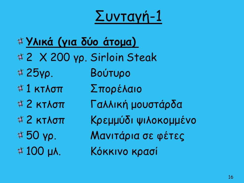 Συνταγή-1 Υλικά (για δύο άτομα) 2 Χ 200 γρ. Sirloin Steak