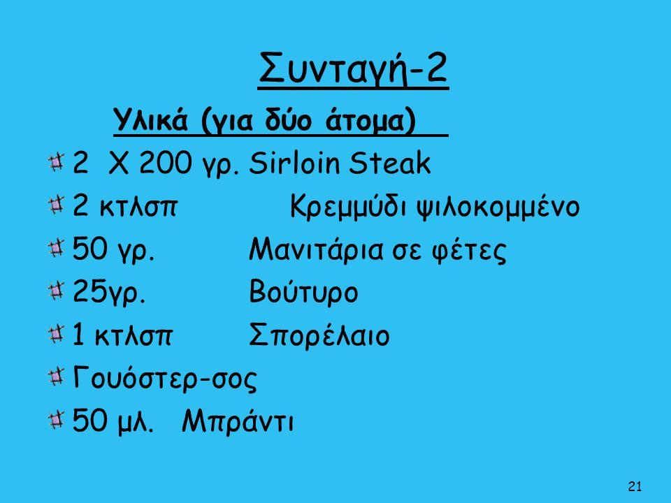 Συνταγή-2 Υλικά (για δύο άτομα) 2 Χ 200 γρ. Sirloin Steak