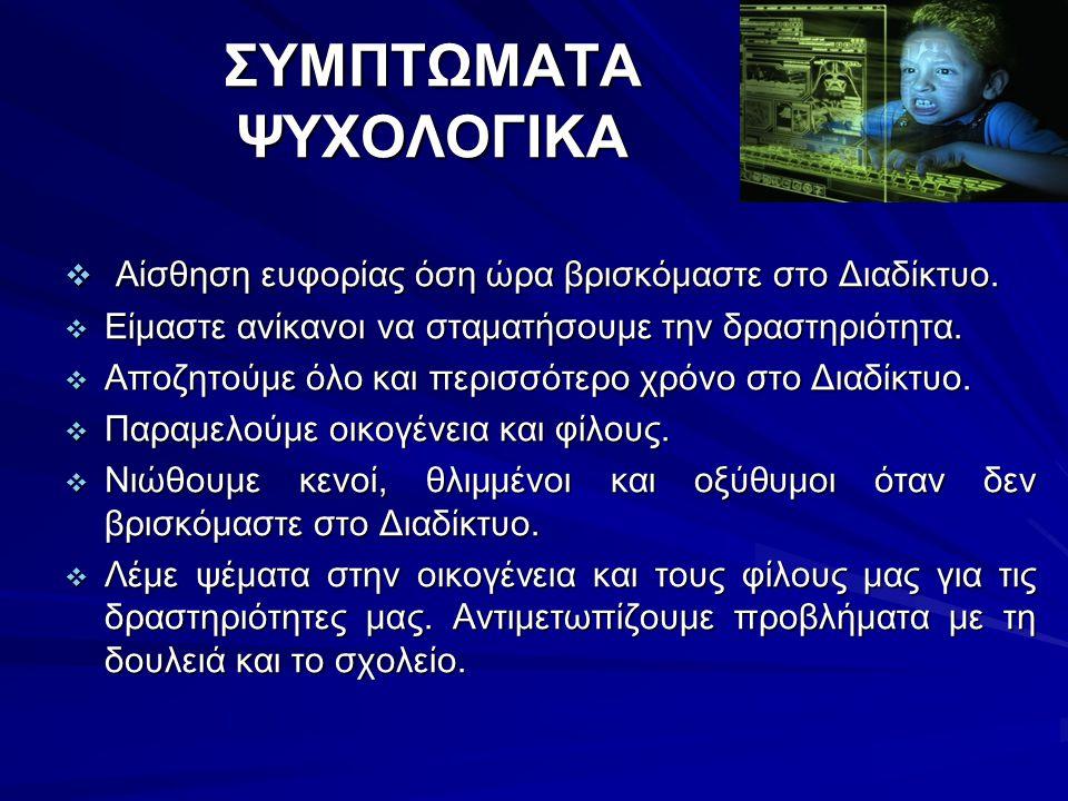 ΣΥΜΠΤΩΜΑΤΑ ΨΥΧΟΛΟΓΙΚΑ