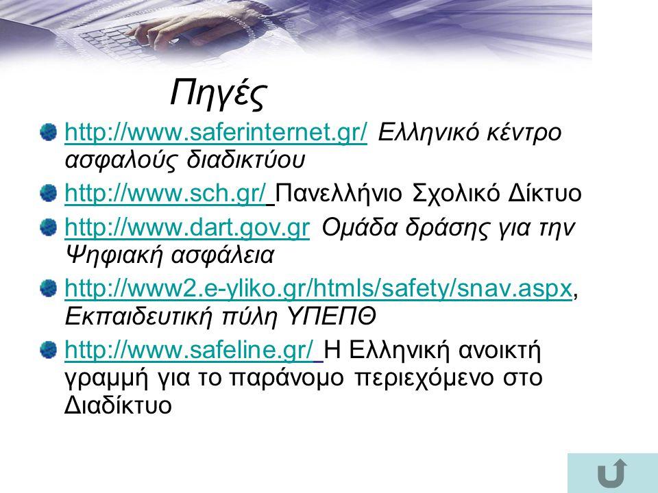 Πηγές http://www.saferinternet.gr/ Ελληνικό κέντρο ασφαλούς διαδικτύου