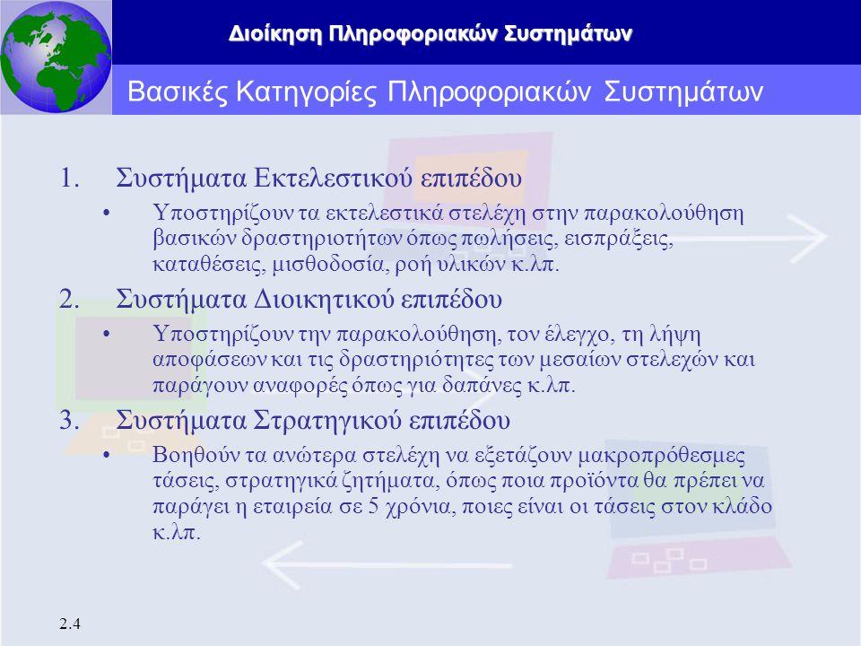 Βασικές Κατηγορίες Πληροφοριακών Συστημάτων