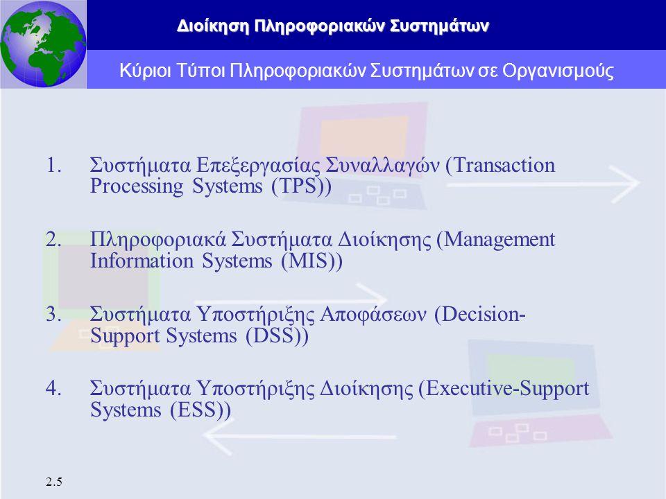 Κύριοι Τύποι Πληροφοριακών Συστημάτων σε Οργανισμούς