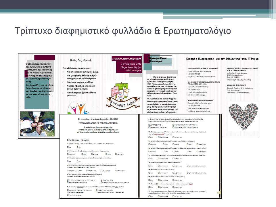 Τρίπτυχο διαφημιστικό φυλλάδιο & Ερωτηματολόγιο