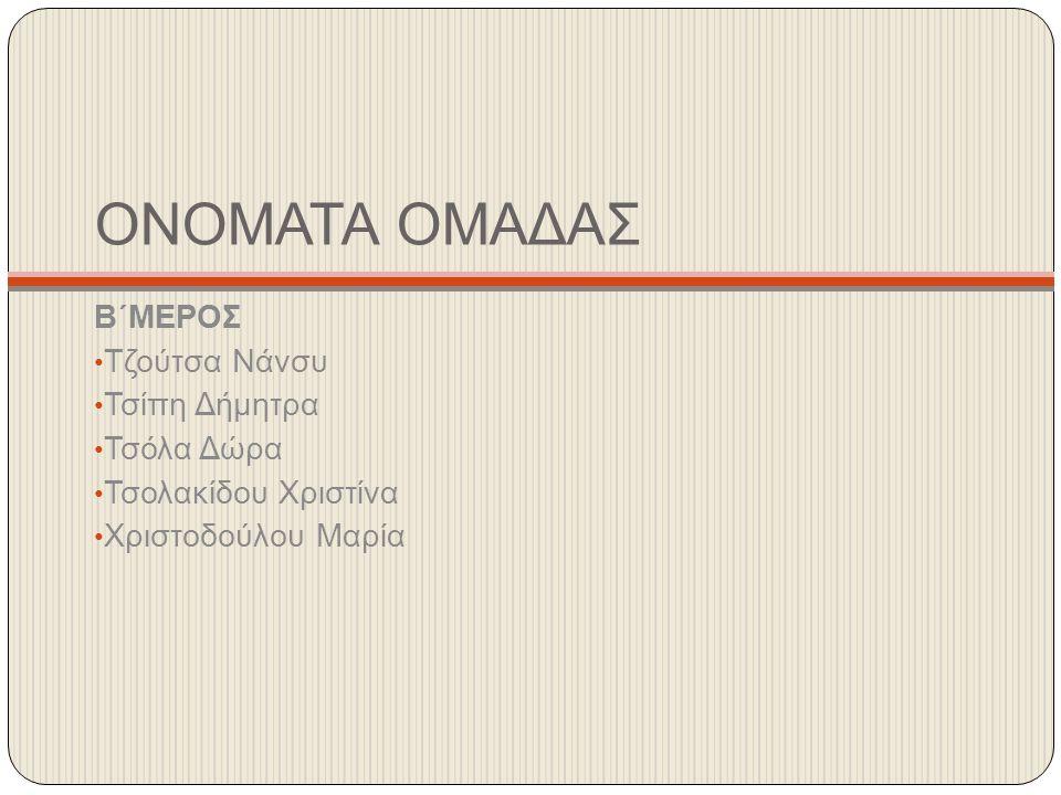 ΟΝΟΜΑΤΑ ΟΜΑΔΑΣ Β΄ΜΕΡΟΣ Τζούτσα Νάνσυ Τσίπη Δήμητρα Τσόλα Δώρα