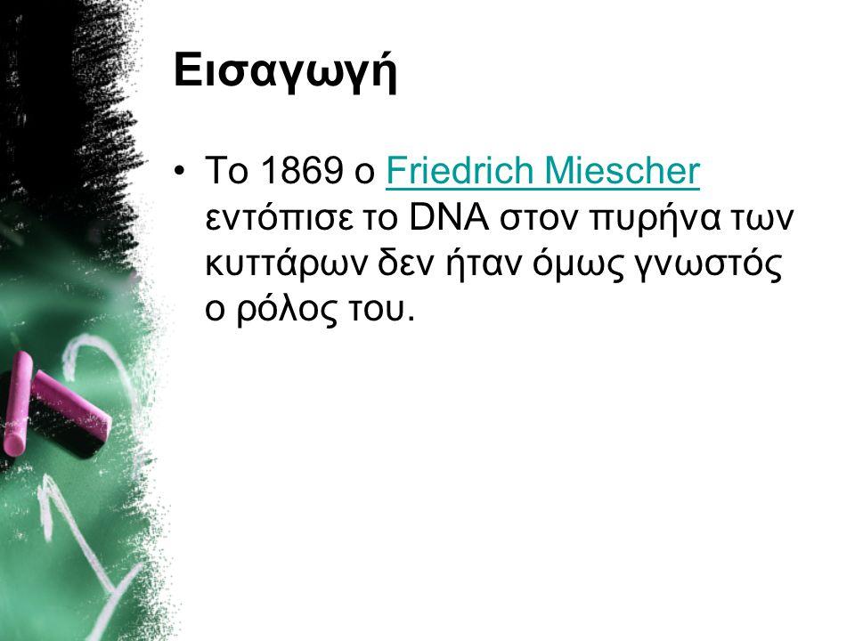 Εισαγωγή Το 1869 ο Friedrich Miescher εντόπισε το DNA στον πυρήνα των κυττάρων δεν ήταν όμως γνωστός ο ρόλος του.