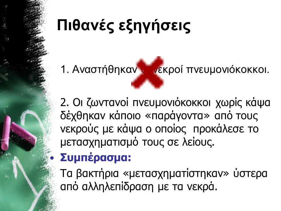Πιθανές εξηγήσεις 1. Αναστήθηκαν οι νεκροί πνευμονιόκοκκοι.