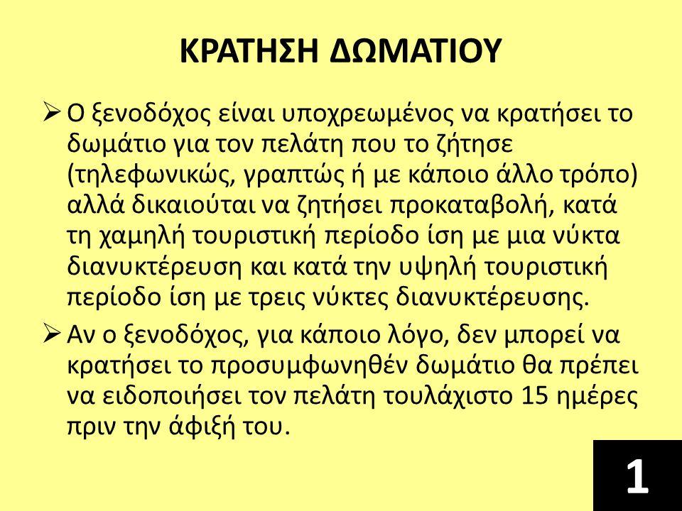 ΚΡΑΤΗΣΗ ΔΩΜΑΤΙΟΥ