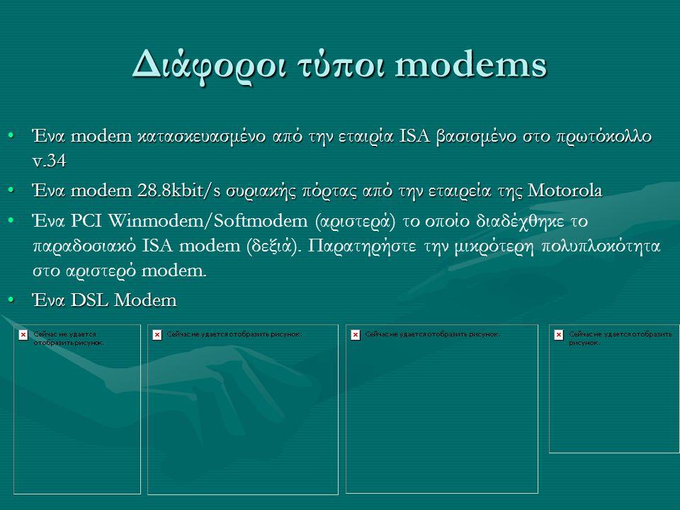 Διάφοροι τύποι modems Ένα modem κατασκευασμένο από την εταιρία ISA βασισμένο στο πρωτόκολλο v.34.