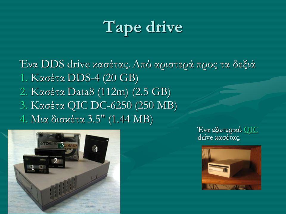 Tape drive Ένα DDS drive κασέτας. Από αριστερά προς τα δεξιά