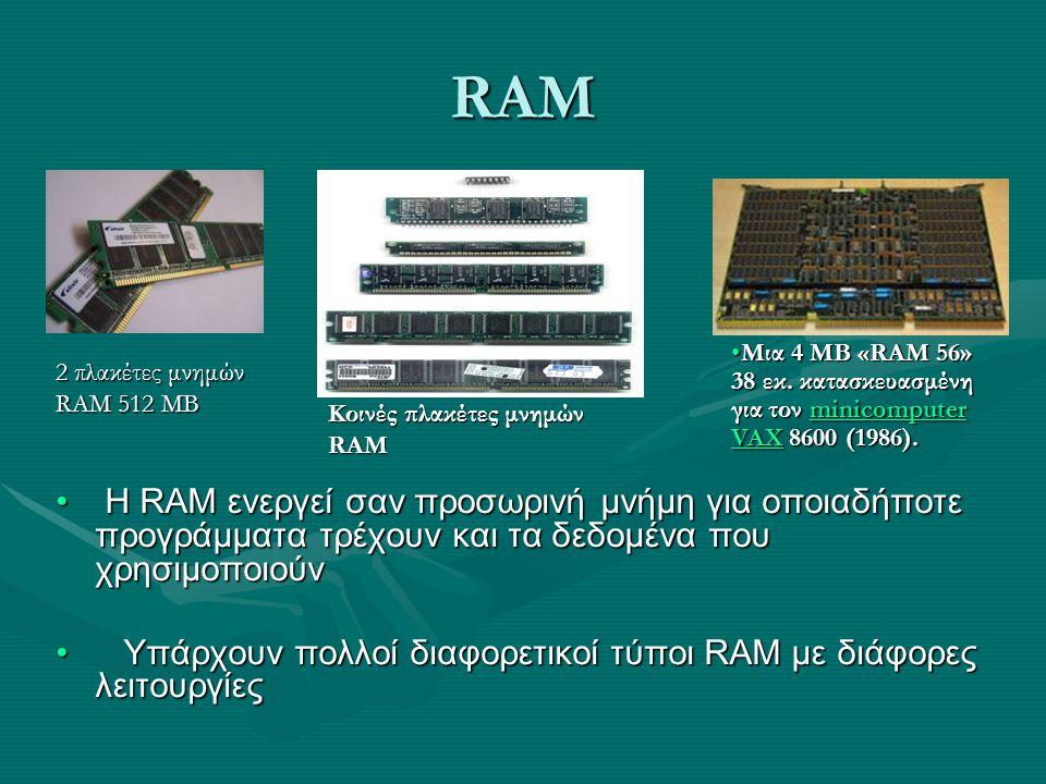 RAM Μια 4 ΜΒ «RAM 56» 38 εκ. κατασκευασμένη για τον minicomputer VAX 8600 (1986). 2 πλακέτες μνημών RAM 512 ΜΒ.